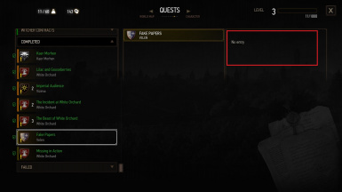 Bug - Journal Objective and Entries missing on quest Fake Papers